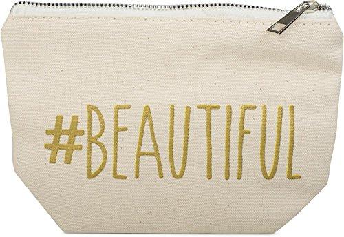 styleBREAKER Neceser de Belleza con Frase Estampada «#Beautiful», Bolso de cosmética, Bolsa para el Maquillaje, Bolso, señora 02013006, Color:Crema-Beige