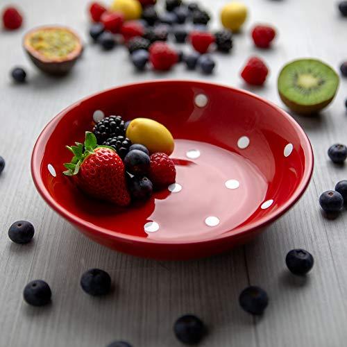City to Cottage® - Keramik Suppenteller 18.5 cm | Rot und Weiß | Polka Dots | Handgemacht | Keramik Teller Suppenschale | Frühstücksteller
