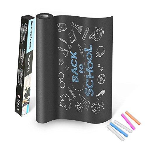 DUTISON Stickers Tableau Noir 60cm x 200cm Grand Tableau Noir et 5 pièce Mix Couleurs Craies pour écriture et Effacement