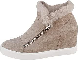 LAICIGO Women's Hidden Wedge Platform Sneakers Side Zipper Slip-on Closed Toe Faux Leather Ankle Booties