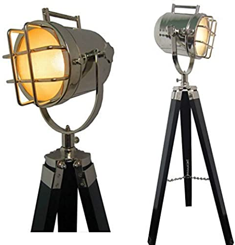 Designer Nautical Floor LampVintage Marine Search Light W Teak Wood Tripod by ethnic roots