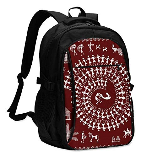 XCNGG Mochila USB con múltiples bolsillos, mochila informal, mochila escolar Laptop Backpacks Tactical Warli Painting - Hand Drawn Traditional The Ancient Tribal Art India Office & School Supplies wit