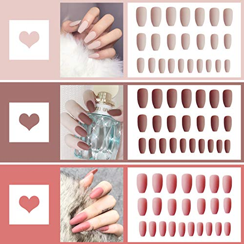 72PCS Salon Fake Nails Full Cover Matte Coffin Nails Acrylic Nails Art Tips Sets for Women, Three Colors