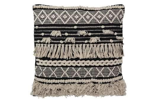 J-Line Ethno-Kissen, Monochrom, aus Baumwolle
