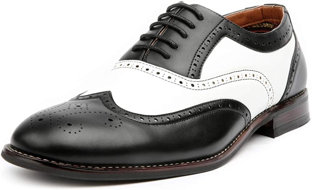 1930s Men's Fashion Guide- What Did Men Wear? Ferro Aldo Arthur MFA139001D Mens Wingtip Two Tone Oxford Black and White Spectator Dress Shoes  AT vintagedancer.com