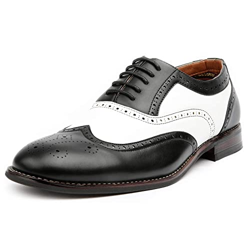 4ce7ebc55528e Ferro Aldo Arthur MFA139001D Mens Wingtip Two Tone Oxford Black and White  Spectator Dress Shoes
