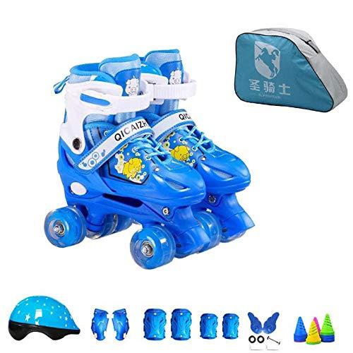 BTYKJ Zweireihige Schlittschuhe, Rollschuhe, Vierradschlittschuhe, Verstellbarer Kinderanzug, Flash Large (passend für Normale Schuhgrößen 38-42) Pig Blue Zweireihiges Rollschuhset