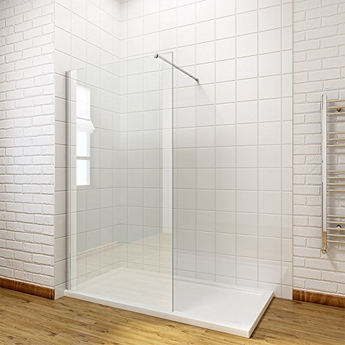 ELEGANT 760mm Walk in Shower Enclosure 8mm Easy Clean Glass Wet Room Shower Screen Panel with 1600x800mm Shower Tray + Waste