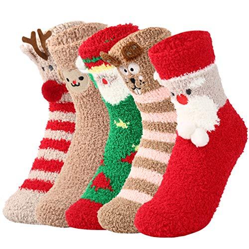 OOPOR Calcetines Mujer Invierno Polar Navidad - Felpa Calentitos Lana Novedad Tela Nieve Esqui Sock 5 Pack Vestir Colores Marvel Termico Frio Acogedor Goma Confort Dormir Calcetin Correr Disfraz Casa