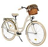 Milord Bikes Bicicleta de Confort marrón cremoso de 1 Velocidad y 26 Pulgadas con Cesta y Soporte Trasero, Bicicleta Holandesa, Bicicleta para Mujer, Bicicleta Urbana, Retro, Vintage