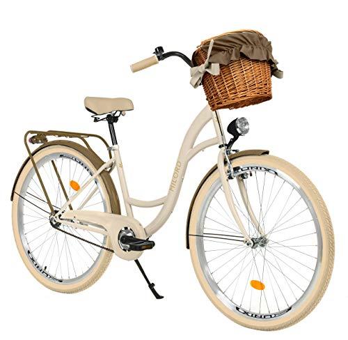 Milord Bikes Bicicletta Comfort cremoso - Marrone a 1 velocità da 28 Pollici con cestello e Marsupio Posteriore, Bici Olandese, Bici da Donna, City Bike, retrò, Vintage