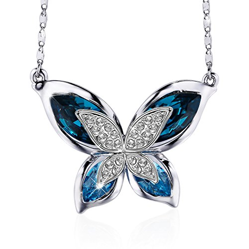 S SIVERY Mothers Day Gifts 'Butterfly' Women Pendant Necklace With Blue Swarovski...