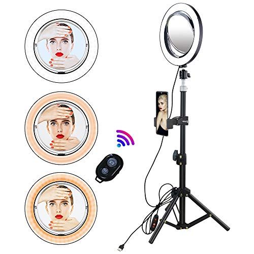 Yefound 9' Selfie Ring Light with Makeup Mirror, Led Ring Light with Tripod Stand & Cell Phone Holder Smartphone Remote for Live Stream/YouTube Video/Photography, Compatible with iPhone Android