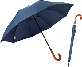 TIME LOVER J Stick Umbrella Oversize Windproof Umbrella Wooden Hook Handle Stick Automatic Open Fast Drying Umbrella for Men Women(Navy Blue)
