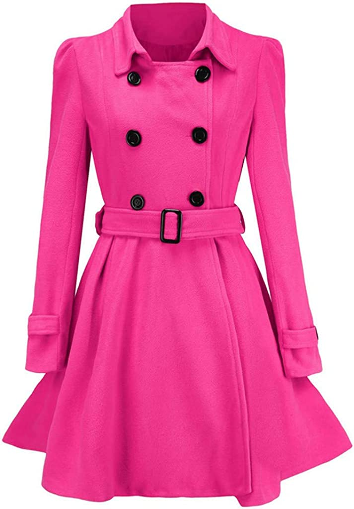 SERYU Winter マート Warm Women Buttons Woolen Jacket Belt Coat O Trench 再再販