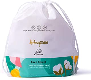 Honeymate Cotton Face Towels, 90 Count Ultra Soft Extra Thick Disposable Facial Tissues for Sensitive Skin and used as Cle...