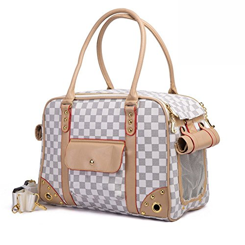 BETOP Pet Carrier Tote Around Town Pet Carrier Portable Dog Handbag Dog Purse for Outdoor Travel Walking Hiking, White, 15.75''11.81''7.87''