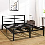KINGSO Full Bed Frames with Headboard, 14 Inch Metal Platform Bed Frame with Storage, Heavy Duty Steel Slat and Anti-Slip Support, Easy Quick Lock Assembly, No Box Spring Needed - Full