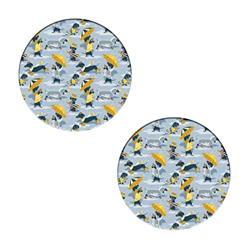 Navy Blue Dachshunds Dogs And Transparent Rain Coats Coasters - Round Drinks Absorbent Stone Coaster Set with Ceramic Stone and Cork Base for Kinds of Mugs and Cups,Office,Kitchen (Set of 2)