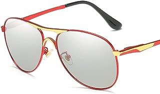 SGJFZD Women's Discolored Sunglasses Outdoor Seaside Sunscreen UV400 Trendy Polarized Sunglasses Large Frame Elegant Sunglasses (Color : Red)