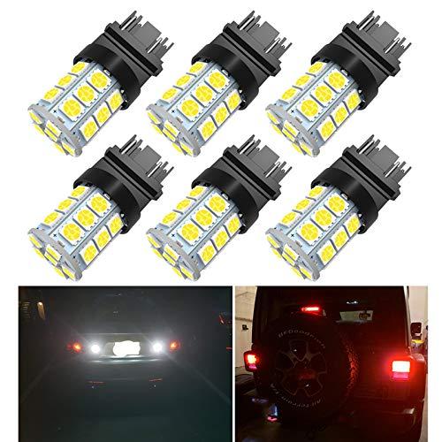 3157 LED Light Bulbs, Super Bright 5050 27-SMD 3056 3156 3156A 3057 4057 3157 4157 T25 LED Bulbs for Brake Lights,Backup Reverse Lights, 6000K Xenon White Pack of 6