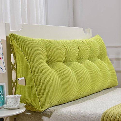 Cuscini Standard Cuscino A Triangolo/Cuscino Poliestere Doppio Comodino Soft Case Letto Grande Cuscino Poggiatesta Semplice E Moderno Lavabile (Colore : Green, Dimensioni : 60cm(No Buckle))