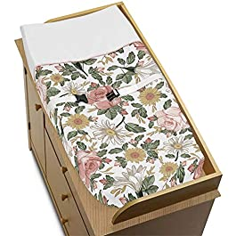 Sweet Jojo Designs Vintage Floral Boho Girl Baby Nursery Changing Pad Cover – Blush Pink, Yellow, Green and White Shabby Chic Rose Flower Farmhouse