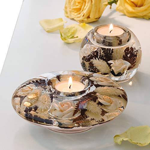 Dreamlight Teelichthalter beige Größe 15x15x5 cm