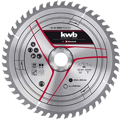 kwb by Einhell Hoja de sierra HM (254 x 30 mm, 48 dientes, apta para sierra circular de mesa Einhell TC-TS 2025/2 eco, sierra ingletadora TC-SM 254 y TC-SM 2531/1 U)
