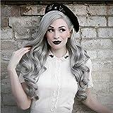 Peluca RainaHair, peluca gris con encaje frontal, suave, natural, sin pegamento, peluca de sirena, para cosplay, fiesta, festival, pelucas para mujeres Drag Queen, 26 pulgadas