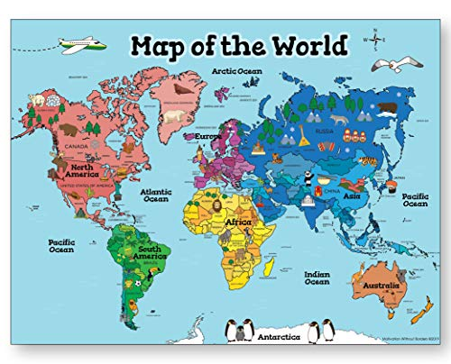 World Map Poster For Kids (18x24 World Map LAMINATED) Ideal World Map For Kids - Home or Classroom Posters