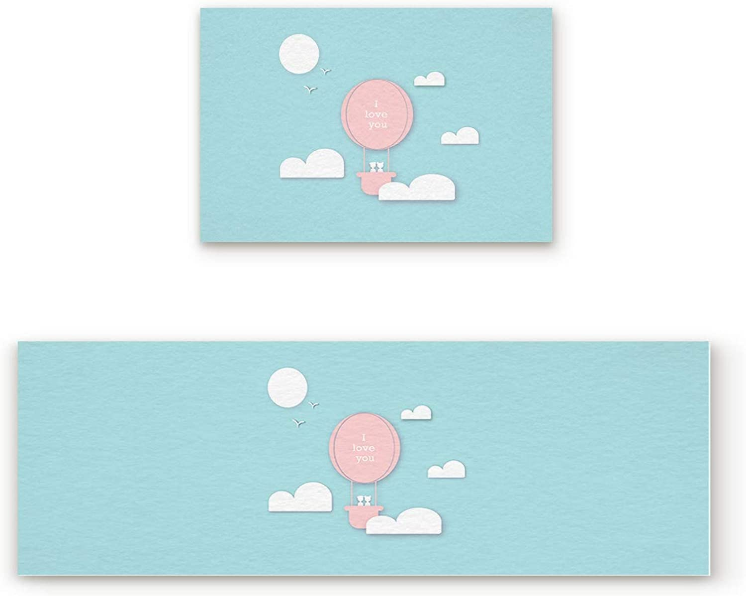 Aomike 2 Piece Non-Slip Kitchen Mat Rubber Backing Doormat Romantic Pink Hot Air Balloon bluee Sky Runner Rug Set, Hallway Living Room Balcony Bathroom Carpet Sets (19.7  x 31.5 +19.7  x 47.2 )