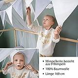 Alcube Hausbett-Deko, mit Baldachin, Lichterkette und Wimpel in grau-weiß, Himmel aus 2 riesigen Stoffbahnen je 160x290cm geeignet als Dekoration für Hausbetten von 160 bis 200 cm - 2