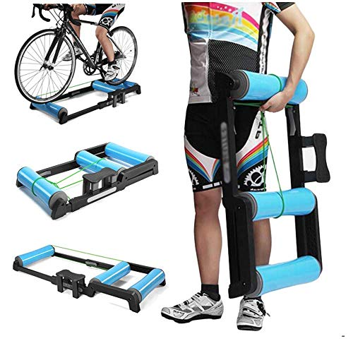 DSHUJC Bicycle Turbo Trainer,Indoor Cycling Parabolic Roller Bike Trainer Stand Indoor Fitness Equipment for 24'' to 29'' and 700C Mountain & Road Bikes