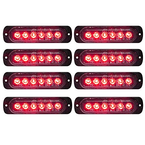 LED Emergency Strobe Lights Bar DIBMS 8x Red 6 LED Strobe Warning Emergency Flashing Light Caution Construction Hazard Light Bar For Car Truck Van Off Road Vehicle ATV SUV Surface Mount