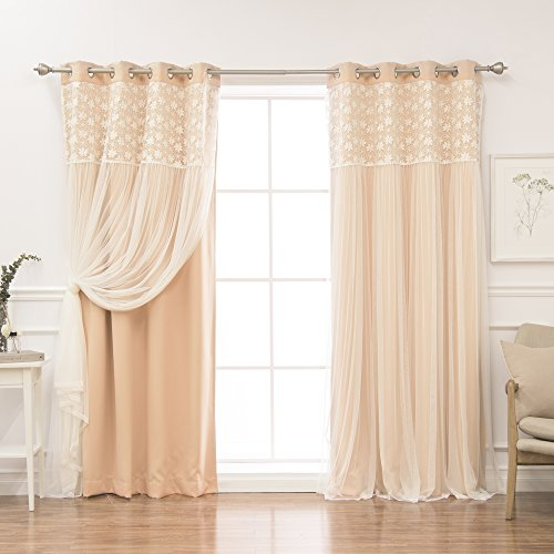 """Best Home Fashion Floral Lace Overlay Thermal Insulated Blackout Curtains - Stainless Steel Nickel Grommet Top - Indiepink - 52"""" W x 84"""" L - (Set of 2 Panels)"""