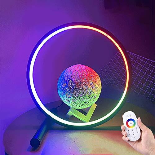 WOERD RGB Ring Lámpara de Mesa Lámpara de Escritorio con Táctil Mando a Distancia Moderna Smart Bedside Table Lamp LED Night Light para Sala de Estar Dormitorio Sala de Estudio