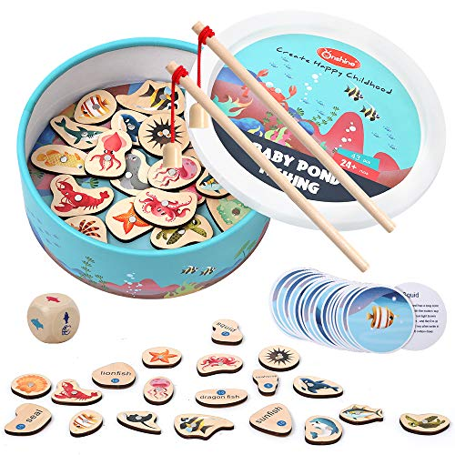 Arkmiido Magnetic Fishing Game, Wooden Fish Magnet Toy, 2 Players Game with 20 PCS Wood Ocean Animal Magnets, 20 Fish Knowledge Cards and 2 Poles, Toy Recommended for 2 3 4 5 6 years old Toddlers