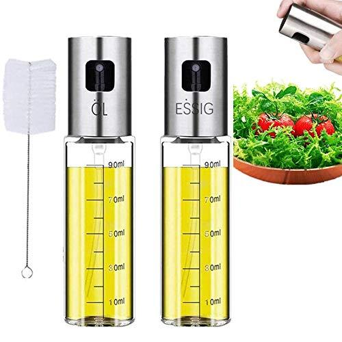 Nifogo Oil Sprayer,Pulverizador de vinagre y aceite, Vinagre/Aceite de oliva de Acero Inoxidable Botella de Vidrio para Herramienta (100ml)