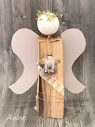 Holzengel Engel Weihnachtsengel aus Holzscheit Spaltholz Kaminholz  (Änne)