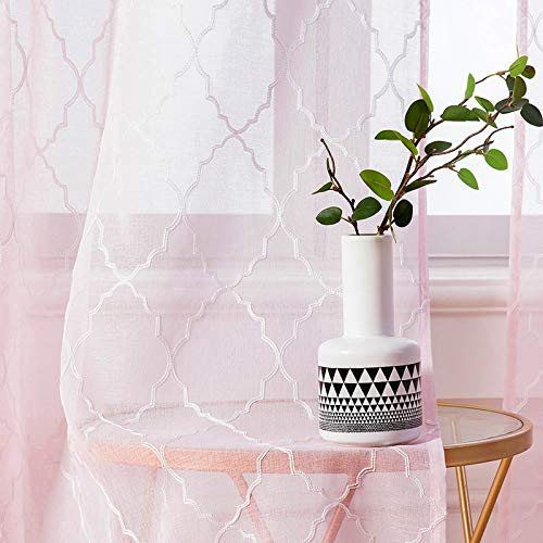 MIULEE 2er Set Voile Marokko Vorhang Sheer mit Ösen Transparente Optik Gardine Ösenschal Wohnzimmer Fensterschal Luftig Lichtdurchlässig Dekoschal für Schlafzimmer 145 x 140cm (H x B) Rosa