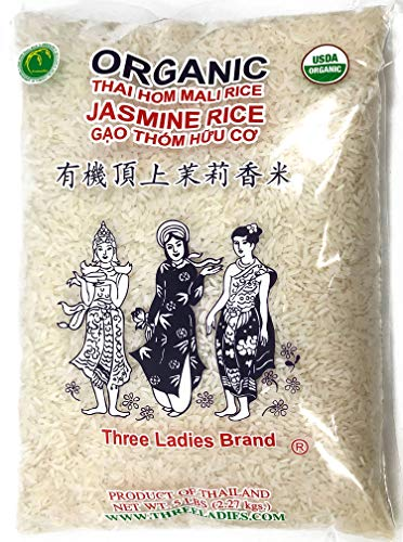 Three Ladies USDA Organic Thai Long Grain Jasmine Rice 5 Pounds Product of Thailand