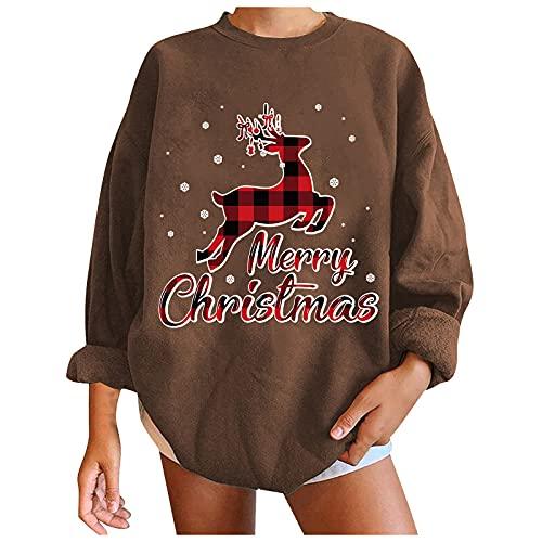 Suéter de moda de Navidad con estampado casual suelto y cuello redondo para mujer, #5 Café, XL