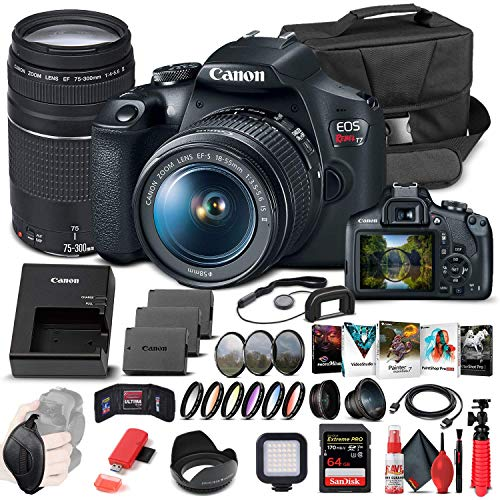 Canon EOS Rebel T7 DSLR Camera with 18-55mm and 75-300mm Lenses (2727C021) + 64GB Memory Card + Corel Photo Software + 2 x LPE10 Battery + Card Reader + LED Light + Filter Kit + More (Renewed)