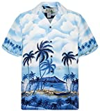 KY´s Original Camisa Hawaiana, Palmbeach, azul 6XL
