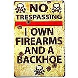 Kama Vintage Metal Gun Sign No Trespassing Firearms Sign-I Own...