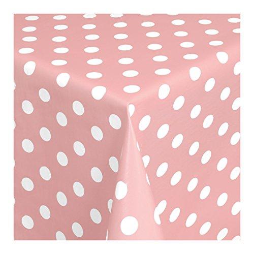 WACHSTUCH Tischdecken Wachstischdecke Gartentischdecke, Abwaschbar Meterware, Länge wählbar, Punkte Rosa Weiß (150-11) 160cm x 140cm