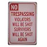 No Trespassing We're Tired of Hiding The Bodies Funny Metal Sign 8'x12' 4 pre-drilled Holes.Durable/Weatherproof for House