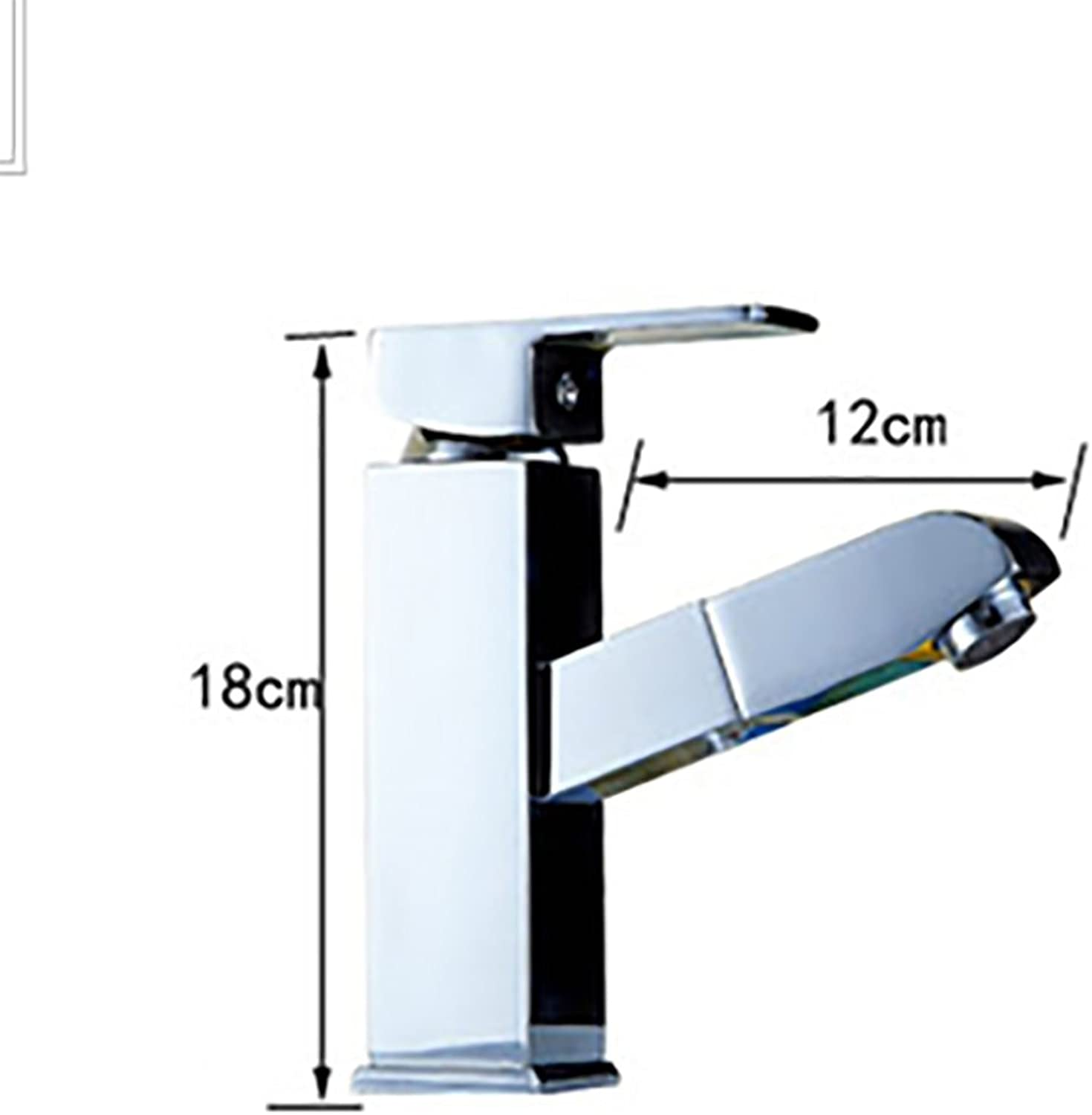 ZJM Single Handle Pull-out Basin Mixer Faucet Cuboid Mirror Surface Silver (Size   18cm)