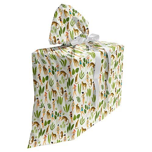 ABAKUHAUS Luipaard Cadeautas voor Baby Shower Feestje, Dancing Ladies in zwemkleding, Herbruikbare Stoffen Tas met 3 Linten, 70 cm x 80 cm, Veelkleurig
